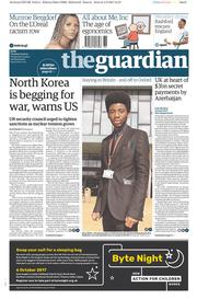 The Guardian (UK) Newspaper Front Page for 5 September 2017