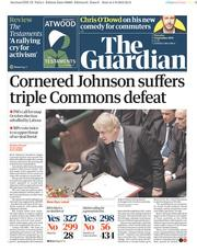 The Guardian (UK) Newspaper Front Page for 5 September 2019