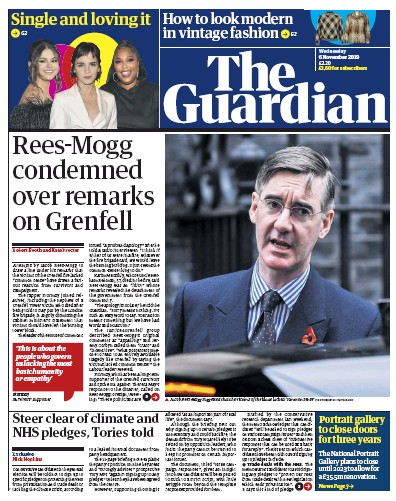 The Guardian Newspaper Front Page (UK) for 6 November 2019