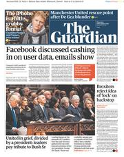 The Guardian (UK) Newspaper Front Page for 6 December 2018