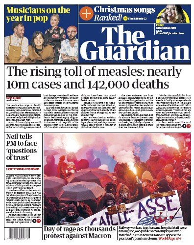 The Guardian Newspaper Front Page (UK) for 6 December 2019