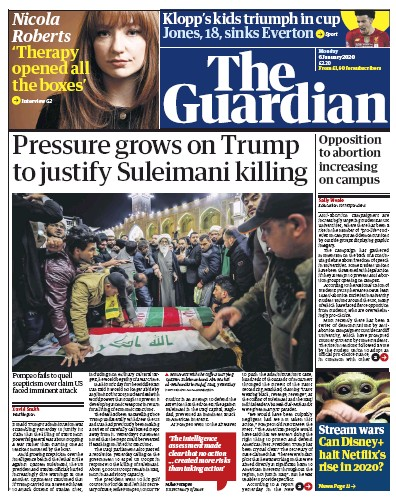 The Guardian Newspaper Front Page (UK) for 6 January 2020