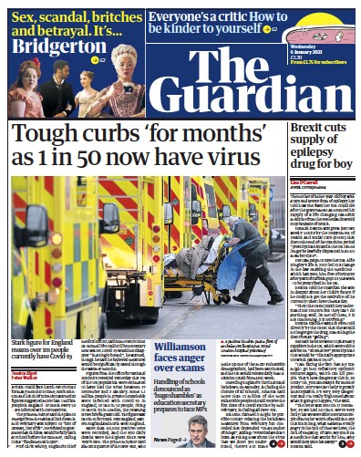 The Guardian Newspaper Front Page (UK) for 6 January 2021
