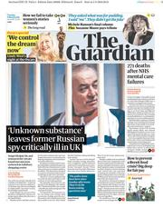 The Guardian (UK) Newspaper Front Page for 6 March 2018