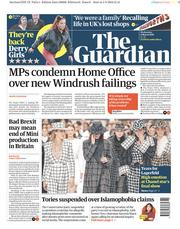 The Guardian (UK) Newspaper Front Page for 6 March 2019