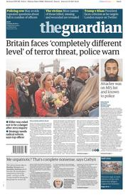 The Guardian (UK) Newspaper Front Page for 6 June 2017