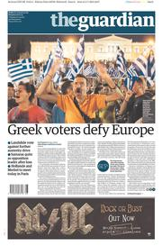 The Guardian (UK) Newspaper Front Page for 6 July 2015
