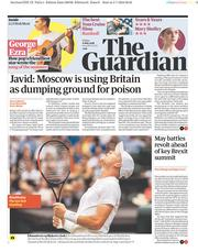 The Guardian (UK) Newspaper Front Page for 6 July 2018