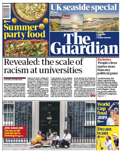 The Guardian Newspaper Front Page (UK) for 6 July 2019
