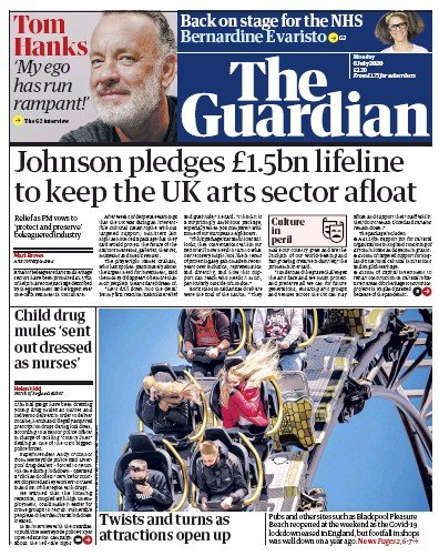 The Guardian Newspaper Front Page (UK) for 6 July 2020