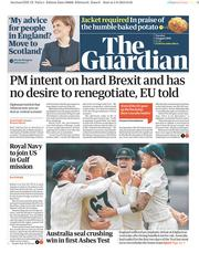 The Guardian (UK) Newspaper Front Page for 6 August 2019