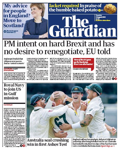 The Guardian Newspaper Front Page (UK) for 6 August 2019