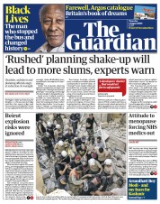 The Guardian front page for 6 August 2020