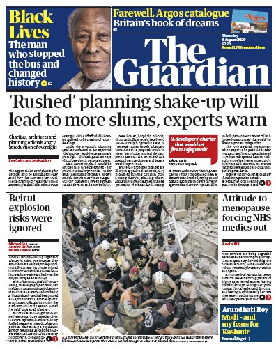 The Guardian Newspaper Front Page (UK) for 6 August 2020