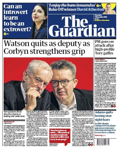 The Guardian Newspaper Front Page (UK) for 7 November 2019