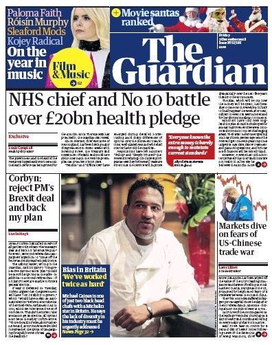 The Guardian Newspaper Front Page (UK) for 7 December 2018