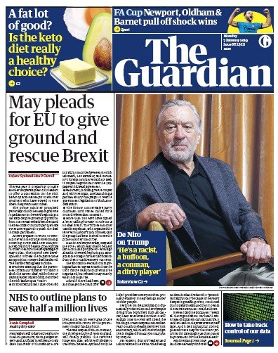The Guardian Newspaper Front Page (UK) for 7 January 2019
