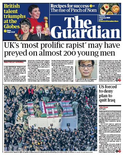 The Guardian Newspaper Front Page (UK) for 7 January 2020