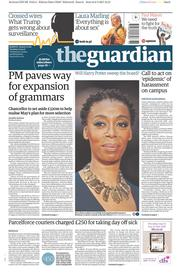 The Guardian (UK) Newspaper Front Page for 7 March 2017