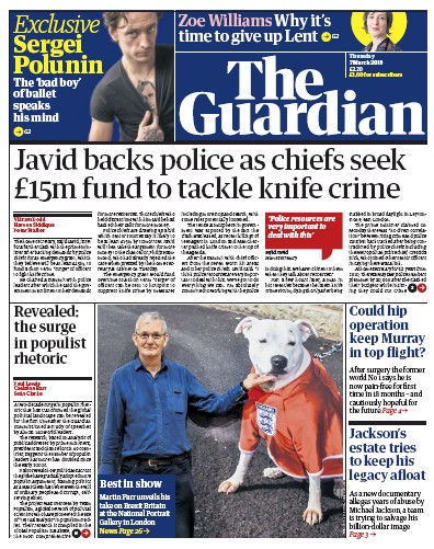 The Guardian Newspaper Front Page (UK) for 7 March 2019