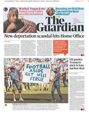 The Guardian (UK) Newspaper Front Page for 7 May 2018