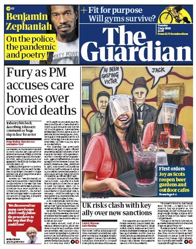 The Guardian Newspaper Front Page (UK) for 7 July 2020