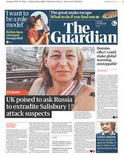 The Guardian (UK) Newspaper Front Page for 7 August 2018