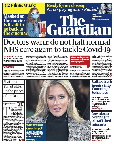 The Guardian Newspaper Front Page (UK) for 7 August 2020