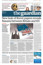 The Guardian (UK) Newspaper Front Page for 7 September 2017