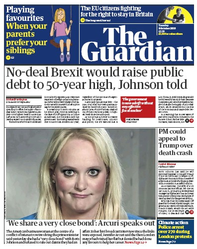 The Guardian Newspaper Front Page (UK) for 8 October 2019