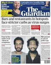 The Guardian front page for 8 October 2020