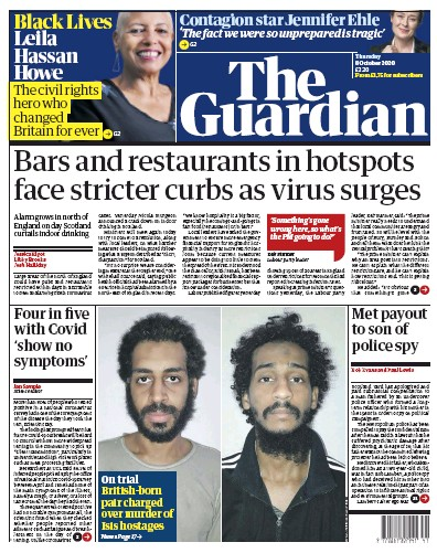 The Guardian Newspaper Front Page (UK) for 8 October 2020