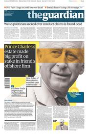 The Guardian (UK) Newspaper Front Page for 8 November 2017
