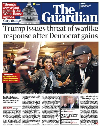 The Guardian Newspaper Front Page (UK) for 8 November 2018