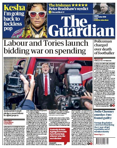 The Guardian Newspaper Front Page (UK) for 8 November 2019