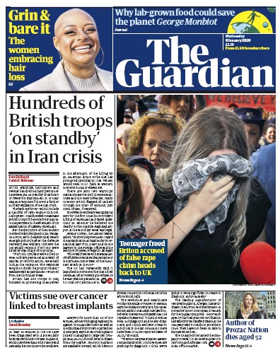 The Guardian Newspaper Front Page (UK) for 8 January 2020