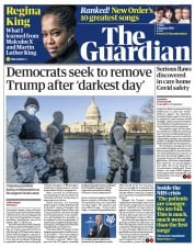The Guardian front page for 8 January 2021