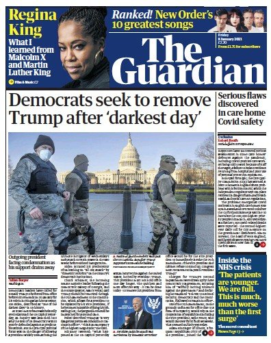 The Guardian Newspaper Front Page (UK) for 8 January 2021