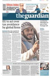 The Guardian (UK) Newspaper Front Page for 8 February 2016