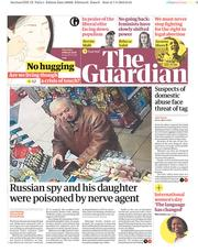The Guardian (UK) Newspaper Front Page for 8 March 2018
