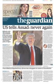 The Guardian (UK) Newspaper Front Page for 8 April 2017