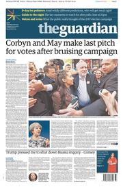 The Guardian (UK) Newspaper Front Page for 8 June 2017