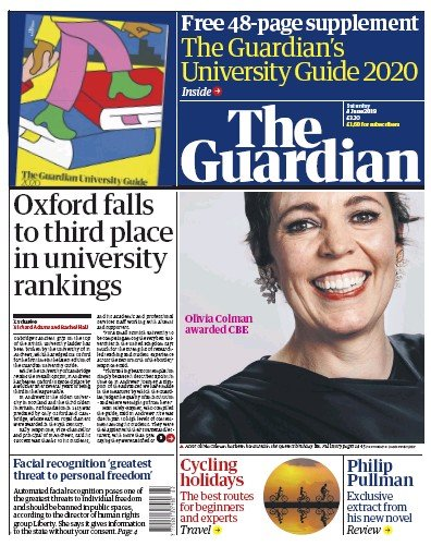 The Guardian Newspaper Front Page (UK) for 8 June 2019