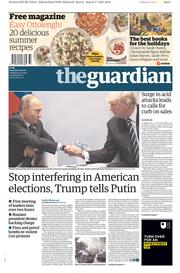 The Guardian (UK) Newspaper Front Page for 8 July 2017