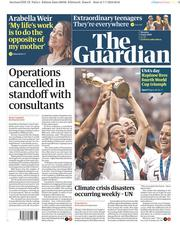 The Guardian (UK) Newspaper Front Page for 8 July 2019