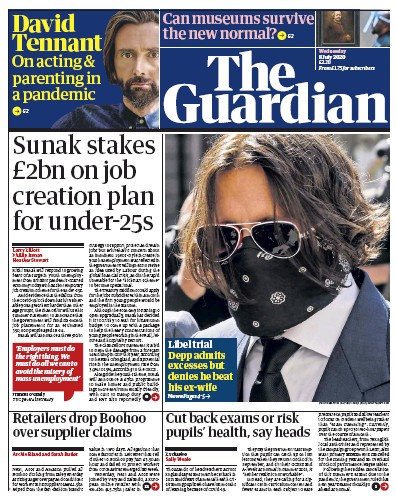 The Guardian Newspaper Front Page (UK) for 8 July 2020