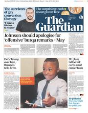 The Guardian (UK) Newspaper Front Page for 8 August 2018