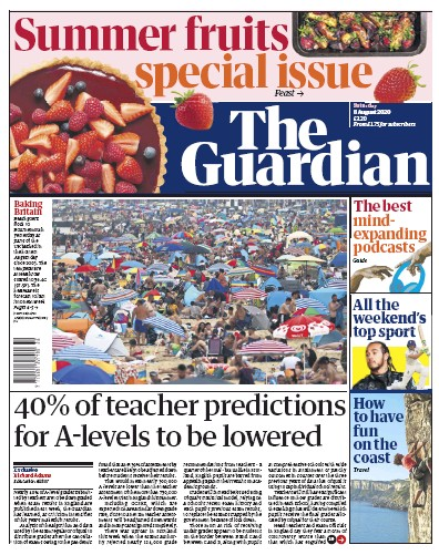 The Guardian Newspaper Front Page (UK) for 8 August 2020