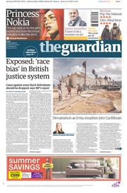 The Guardian (UK) Newspaper Front Page for 8 September 2017