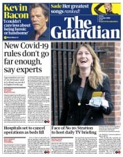 The Guardian front page for 9 October 2020